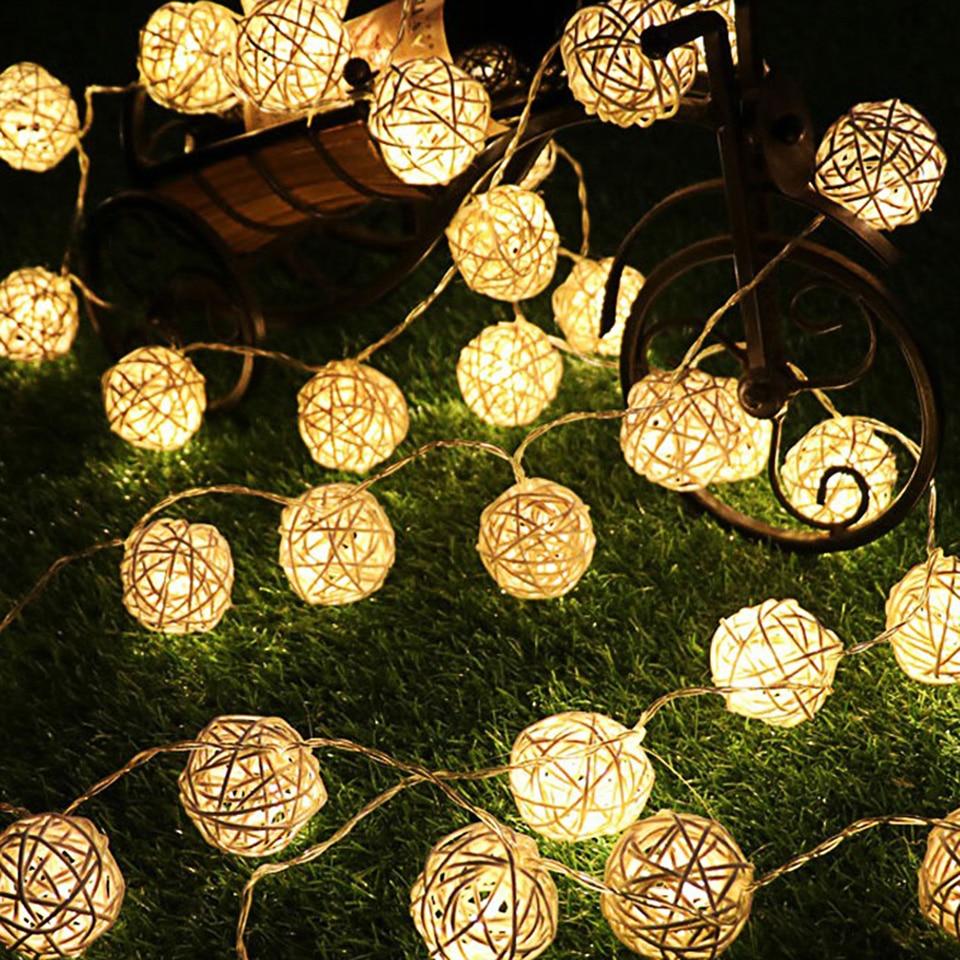 Rattan Ball Christmas Lights String 3M 20Leds Warm White Garland 4cm Diameter Ball For Holiday Decoration Fairy Luces De Navidad