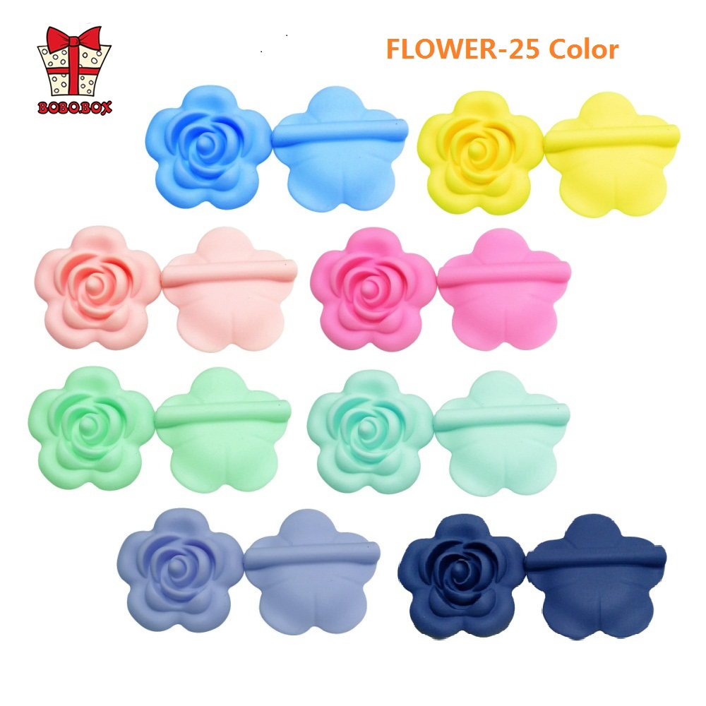 BOBO.BOX 5pcs Rose Silicone Beads Baby Teethers Flower Food Grade Baby Teething Toys For Pacifier Chain Necklace DIY Accessories