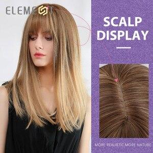 Image 4 - Element syntetyczne długie proste Ombre brązowy na złoty blond peruki z schludnym grzywką dla białych/czarnych kobiet
