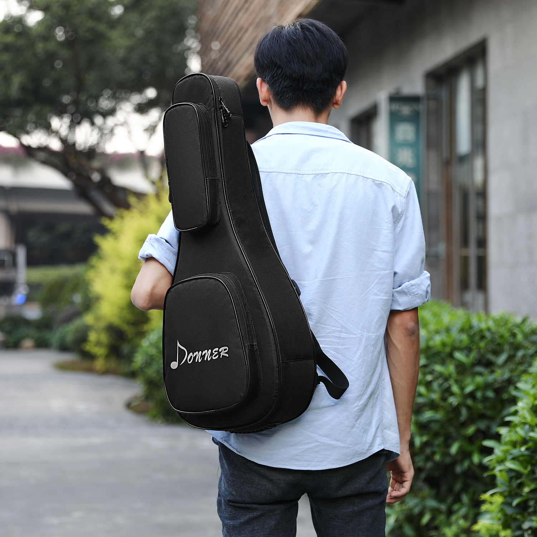 Donner Mandolin Gig Bag 28 Inch 3mm Thicken Sponge Pad Water-Resistant Two Pockets Backpack Soft Case Cover 600D Black