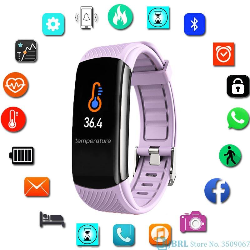2020 Sport Smart Watch Women Men electronic Wrist Watch For Andriod Ios Fitness Tracker Body Temperature Smart Clock Smartwatch