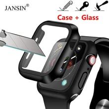 Чехол+ закаленное стекло для Apple Watch, 40 мм, 44 мм, серия 5, 4, защита для экрана, чехол-бампер для iwatch, серия 3, 2, 1, 38 мм, 42 мм