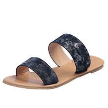 Genuine Leather Open Toe Women'S Sandals Shoes Women Open Toe Elegant Flat Slippers Shoes Low Heel Flip Flop Women Slides D281 wedges slippers women 2018 slides sandals shoes women genuine leather closed toe handmade comfortable women flat shoes