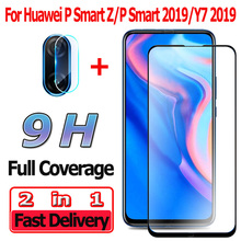 2 in 1 Screen Protector for Huawei P Smart Z/2019 Tempered Glass Y7 2019 Camera Lens Film Z Protective
