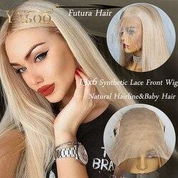 YYsoo, pelucas largas 103 de Color 13x6 con encaje sintético frontal, seda recta, Futura japonesa, pelucas de pelo rubio de fibra resistente al calor para mujer