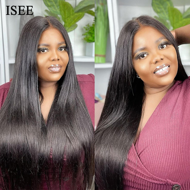 ISEE HAIR Straight Lace Front Human Hair Wigs For Women 13X6 HD Lace Frontal Wig 4X4 Long Malaysian Straight Lace Closure Wig 2
