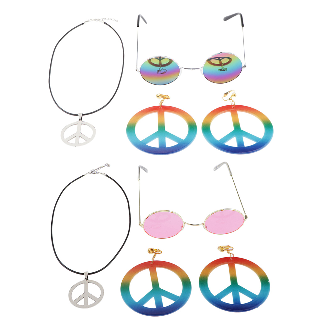 Peace Sign Necklace Earring Hippie Sun Glasses Hippie Costume Accessories Colorful Large Round Earring Necklace And Sunglasses
