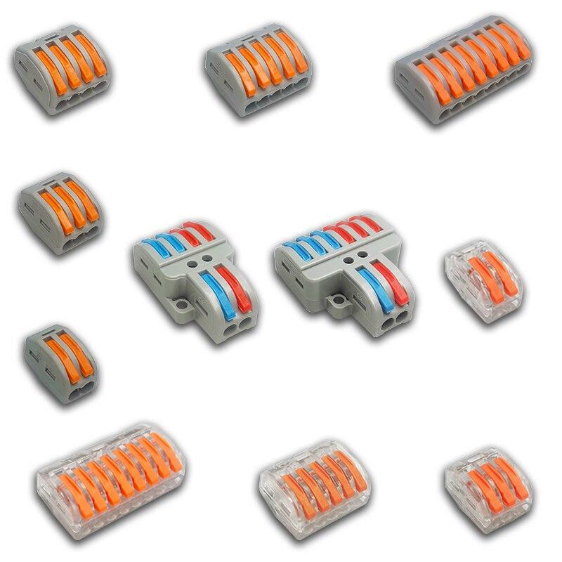 1/3/5/10 pces/saco 222 PCT-212-218 mini conectores de fio rápido universal compacto conector de fiação push-in bloco de terminais 2-8p