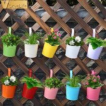 Flower-Pots Hang-Bucket-Holder Balcony Home-Decor Hanging Handle Garden Metal with Iron