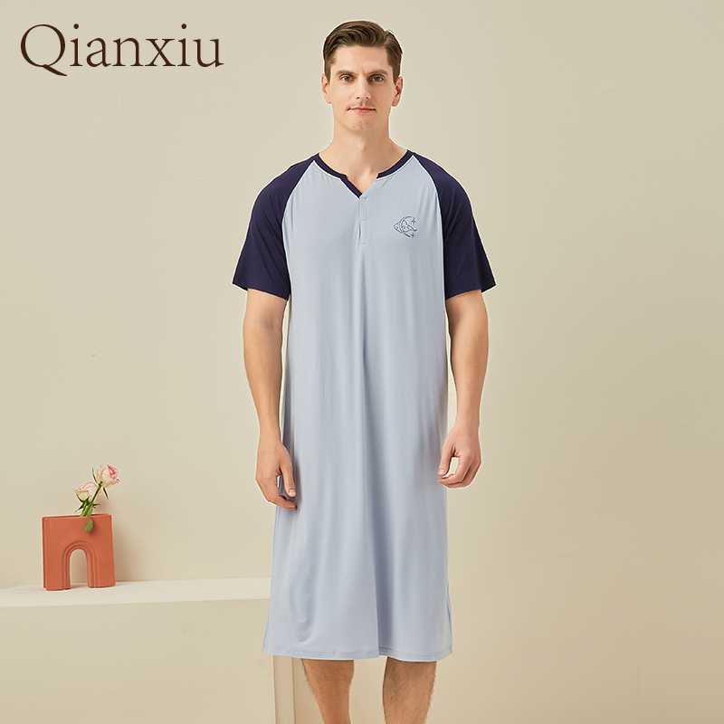 Summer Bamboo Fiber Home Sleepskirt Comfy Loose Men Sleepskirt 212121