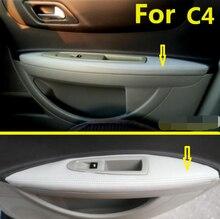 Für Citroen C4 (2006 2016) / c4 coupe Mikrofaser Leder Auto Tür Armlehne Panel Schutzhülle mit Halterung Armaturen 4 teile/satz