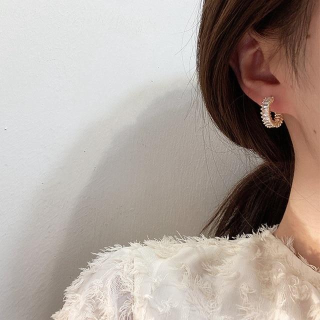 MENGJIQIAO 2020 Korean Micro Pave Zircon Hoop Earrings For Women Elegant Circle Boucle D'oreille Oorbellen Sweet Jewelry 2