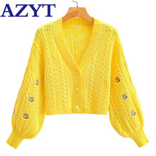 AZYT 2020 Autumn New Embroidery Knitted Cardigan Women's Jacket High Quality Solid Sweater Coat Fashion Cropped Cardigan Tops(China)
