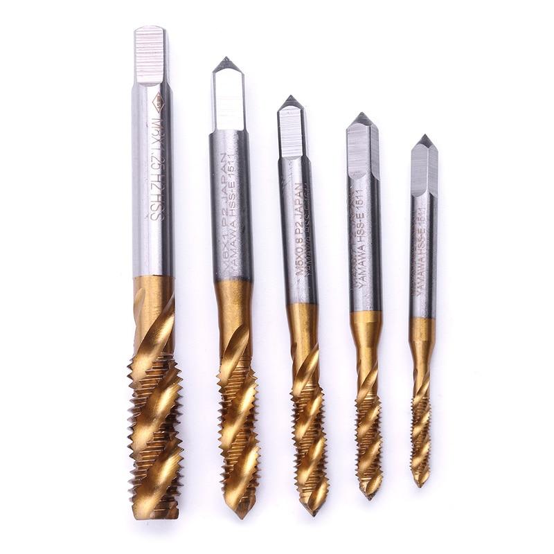 Titanium Coated HSS Spiral Flute Metric Machine Tap Right Hand Thread Drills