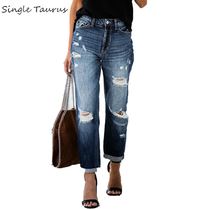 2020 Spring Loose Mom Jean High Waist Bleached Ripped Denim Pants Fashion Streetwear Vintage Straight Distressed Jeans For Woman