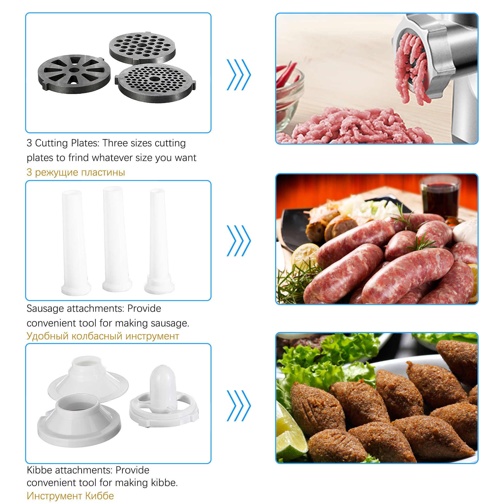 3000W Potente Elettrico In Acciaio Inox Tritacarne Casa a base di Carne di Salsiccia Stuffer Mincer Heavy Duty Domestica Tritacarne Sonifer