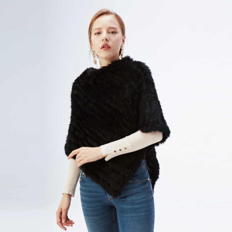ファッション毛皮のプルオーバー女性のためのニット本物のウサギの毛皮ケープ女性リアルファーニット Amic ラップ三角形のショールジャケット