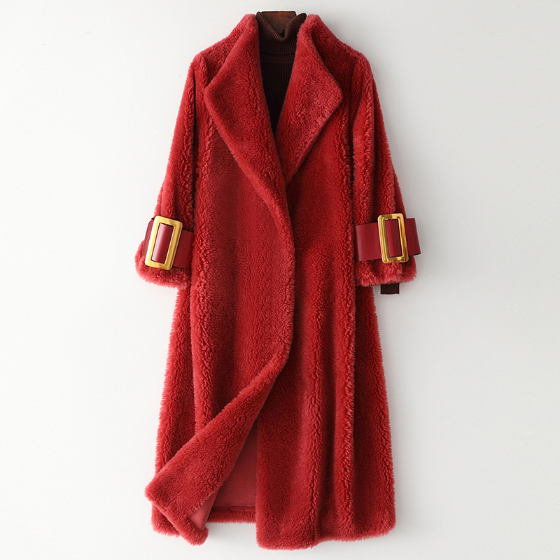 Luxury Streetwear Warm Female Woolen Coat High Quality Natural Real Sheepskin Thick Jackets Hot Sell Red Outerwear with Pockets
