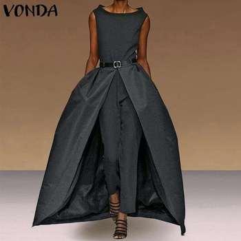 Fashion Rompers Womens Jumpsuits VONDA Female Summer 2020 Sleeveless Fake Two Pieces of Playsuits Mesh Pants Women Pantalon 5XL 2