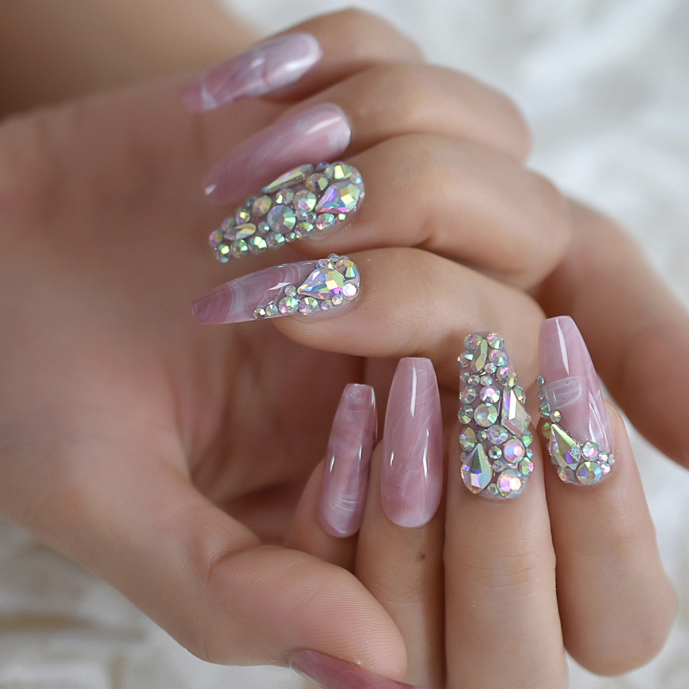 Роскошные поддельные ногти дизайнерские удлиненные Омбре французские украшения предварительно разработанные ногти натуральные шпильки AB Украшение камнями Типсы - Цвет: L5411