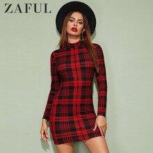 ZAFUL Winter Dress Women Vintage Plaid Houndstooth Bodycon Sexy Mini Dr