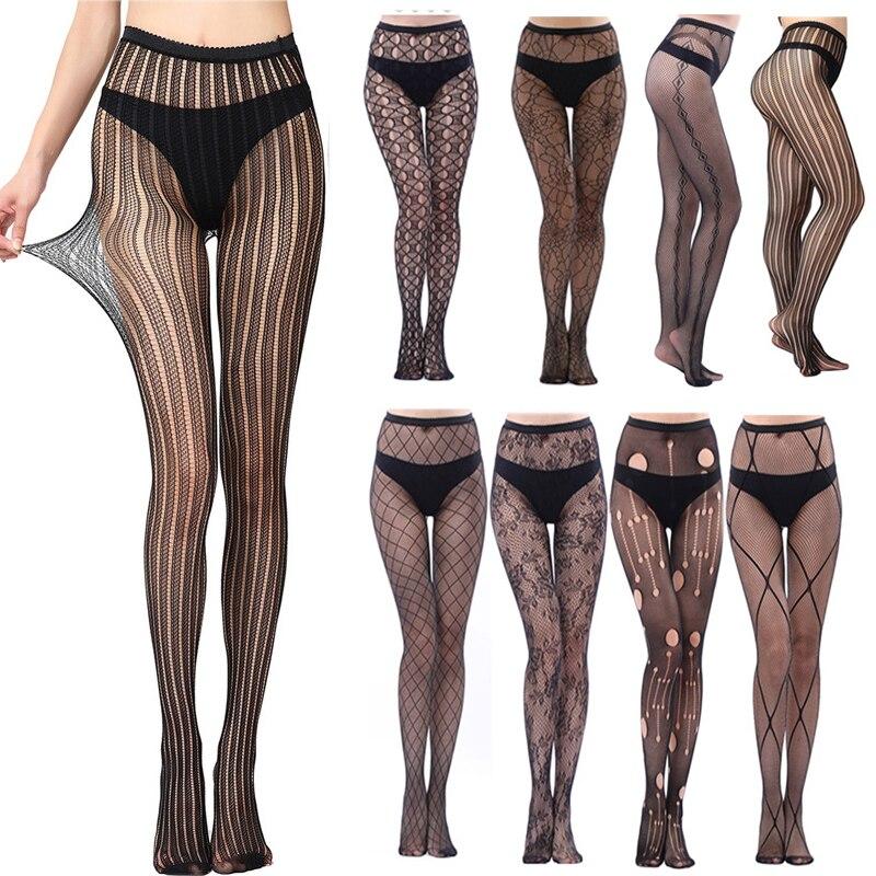 Модные тонкие женские колготки, сексуальные однотонные обтягивающие ажурные колготки для женщин, черные ажурные колготки, сексуальное ниж...