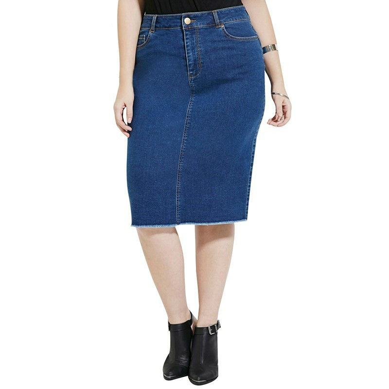 Plus Size New Fashion Women  Casual Streetwear Solid Demin Skirt Knee-length Pocket Demin Skirt 3XL 4XL 5XL 6XL