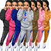 Cartoon Letter Printed Women's Sport Suit Pockets Hooded Long Sleeve Pullover Tops and Workout Jogger Sweatpant Two Piece Outfit