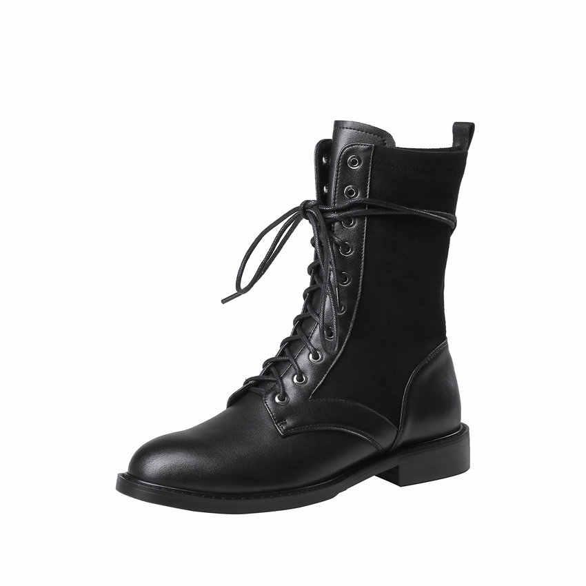ESVEVA 2020 รองเท้าผู้หญิงฤดูหนาวรองเท้าข้อเท้าสแควร์ Med Heel Western สไตล์ Lace Up Elegant รถจักรยานยนต์แพลตฟอร์มรองเท้าขนาด 34 -40