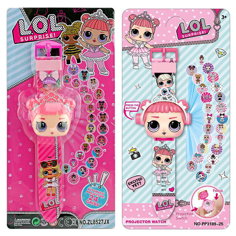 LOL Dolls Surprise 3D Projection Cartoon Children Watches Anime Figure Educational Small Kids Boys Girls Clock Toys For Children