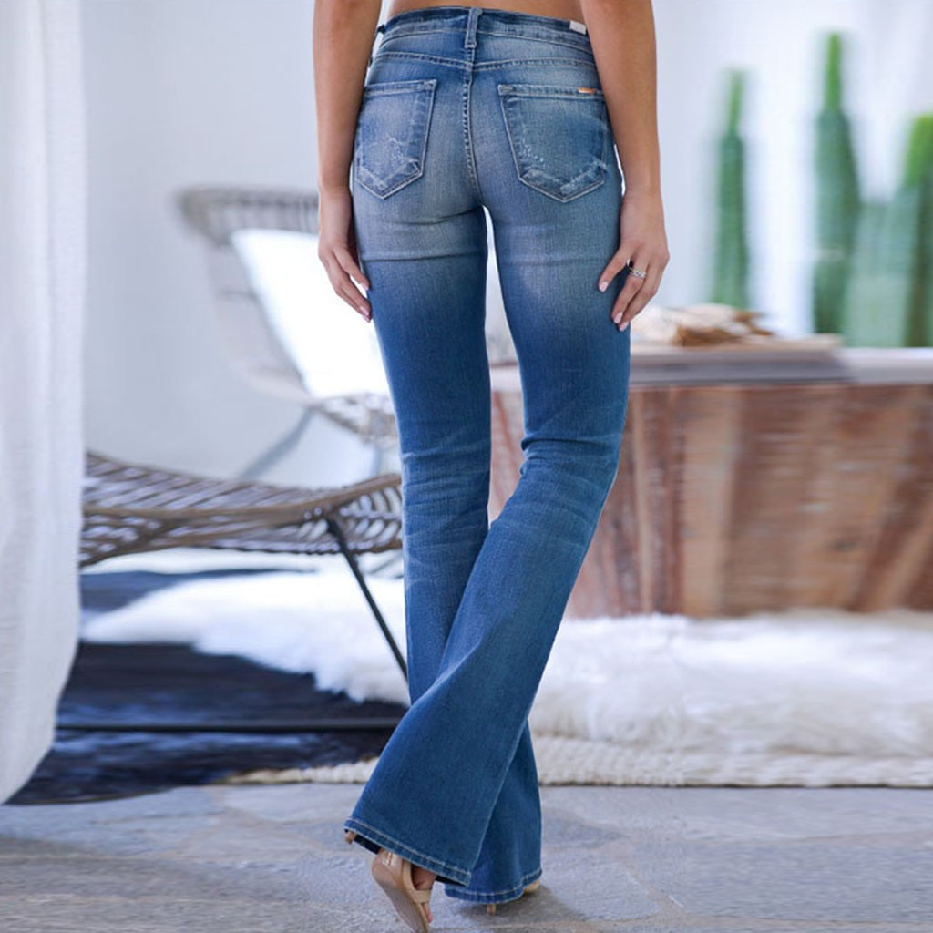 Jaycosin AutumnFashion Ladies Casual Loose Solid Mid Waisted Jeans Denim Skinny Stretch Trousers Female Wide Vintage Jeans 12#4