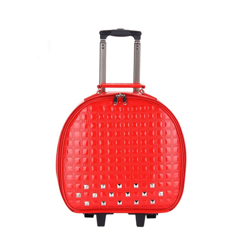 Travel Rolling Luggage Bags On Wheels  PU Leather Travel Trolley Bag For Women Suitcase Wheeled Trolley Suitcase Carry On Bags