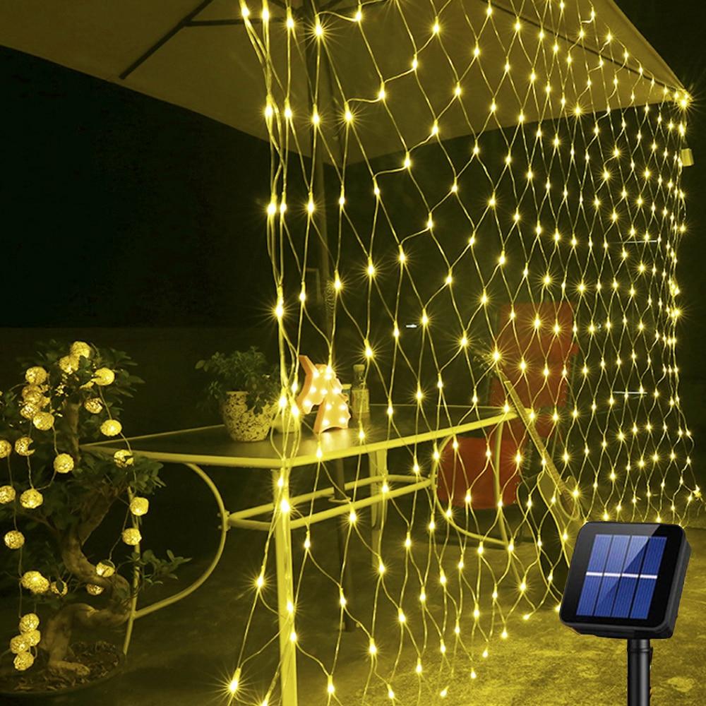 Solar Powered LED Net Mesh String Light Garden Window Curtain Decoration Light 1.1*1.1M 2*3M 8 Modes LED String For Christmas