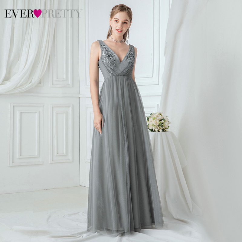 Elegant Grey Evening Dresses Ever Pretty EP00718 A-Line Appliques Double V-Neck Sleeveless Tulle Formal Gowns Vestidos Elegantes