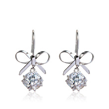 Luxury Female Bowknot Stud Earrings for Women Cubic Zircon Earrings for Girls Jewelry Gift недорого