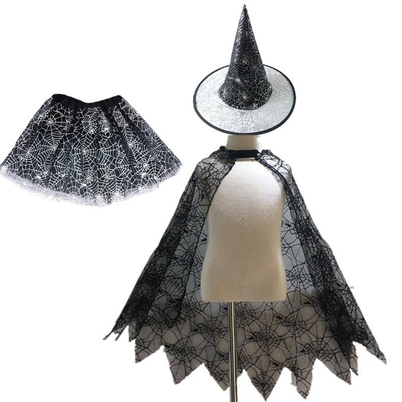 Halloween Spider Web Cloak New Children's Cloak Skirt Witch Hat Costume Set Props Festival Dance Party Fancy Dress