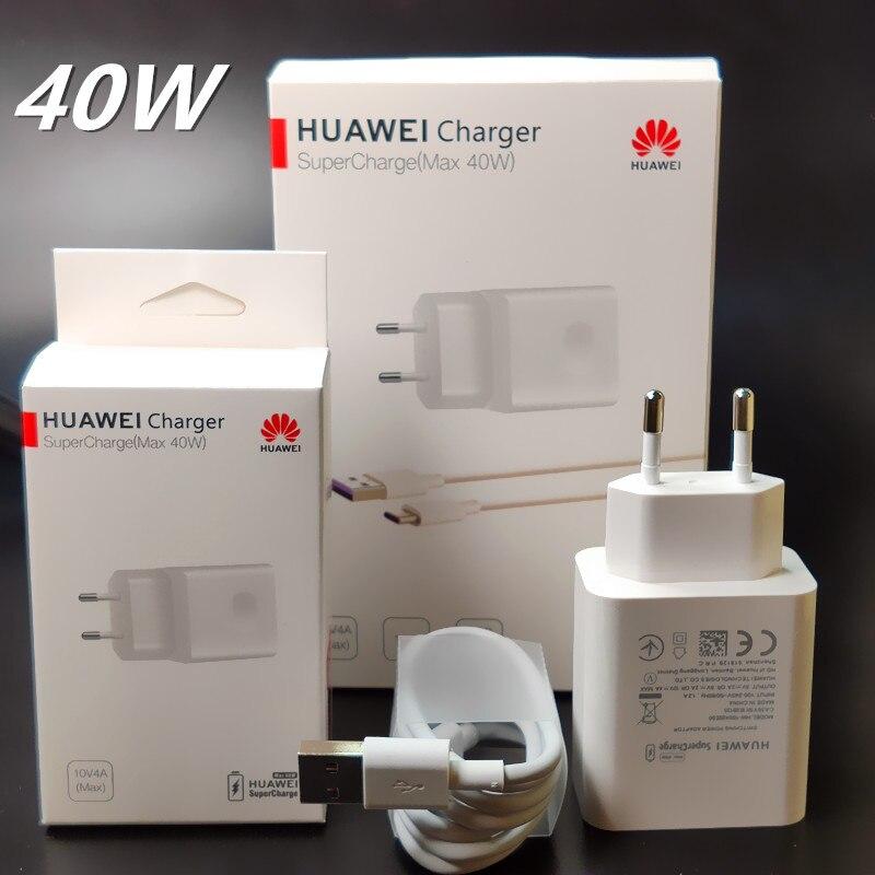 Huawei зарядное устройство 40 Вт Оригинал 10V4A Supercharge EU зарядный адаптер 5А USB type c кабель для nova 5 5t 5 pro mate 30 pro p20 p30 pro