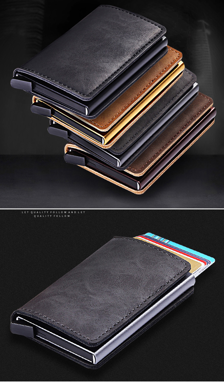 Super thin metal PU leather card case light weight RFID blocking credit card holder pop up business card wallet