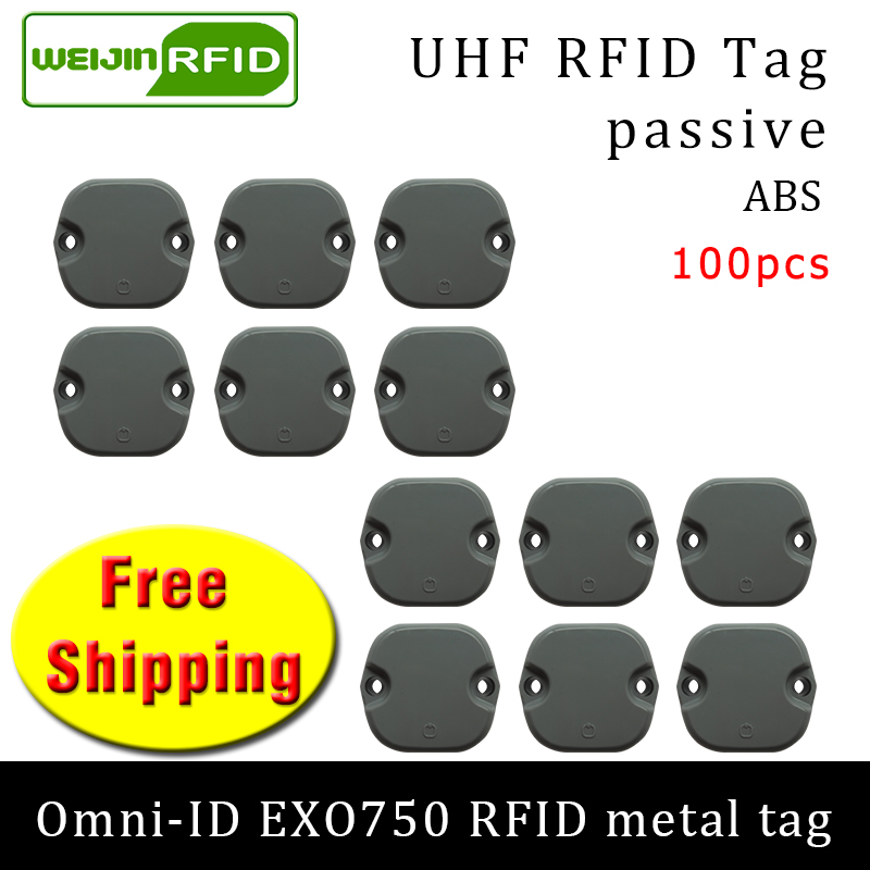 UHF RFID Metal Tag Omni-ID EXO750 915m 868m Impinj Monza4QT 100pcs Free Shipping Durable ABS Smart Card Passive RFID Tags