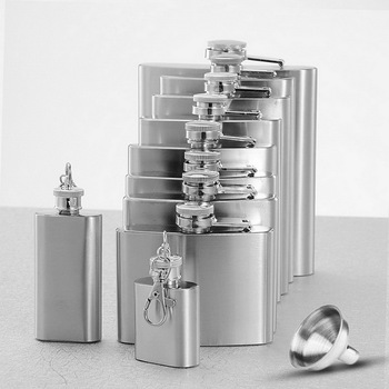 2020 1/2/4/5/6/7/8/9/10 OZ Stainless Steel Hip Flask Alcohol Bottle with Funnel Liquor Whisky Wine Outdoor Portable Pocket Flask image