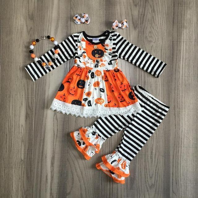 가을/겨울 할로윈 아기 소녀 오렌지 스트라이프 바지 어린이 옷 부티크 해골 유령 호박 의상 세트 일치 액세서리