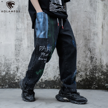 Aolamegs Pants Men Color Block Patch Graffiti Joggers Sweatpants Casual Hip Hop Style Trousers Harajuku Fashion Youth Streetwear