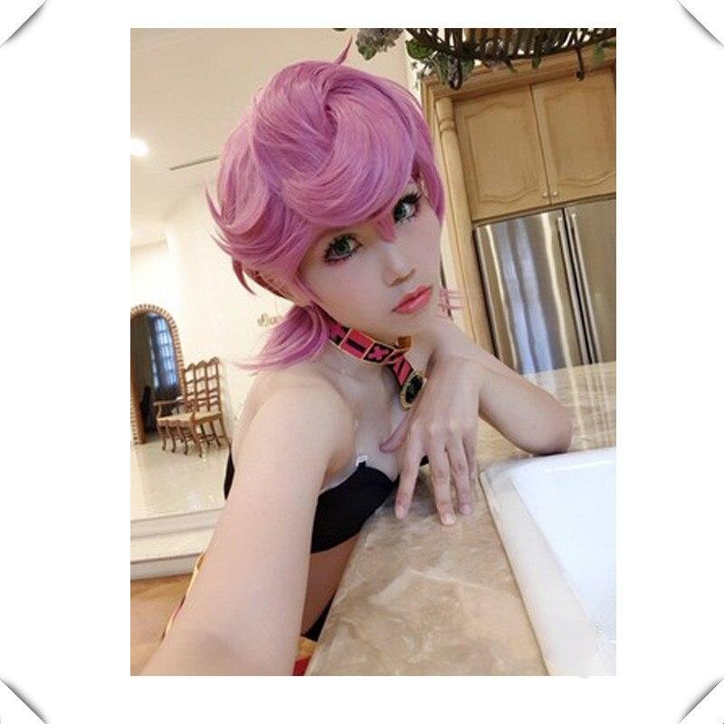 Anime Trish Una Cosplay Wig  JOJO Bizarre Adventure Golden Wind Golden Cosplay Costumes Trish Una Hair Halloween Party Cosplay