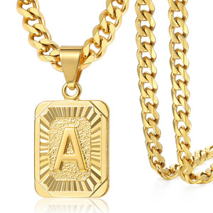 Initial letter Pendant Necklace a b c Charm Gold Capital Letter necklace for Women girl Cuban Link Chain Dropshipping GPM05C(Hong Kong,China)