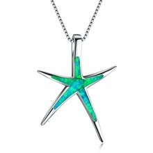 New Fashion Blue Fire Opal Starfish Ocean Theme Pendant Necklace for women Wedding Jewelry Gifts