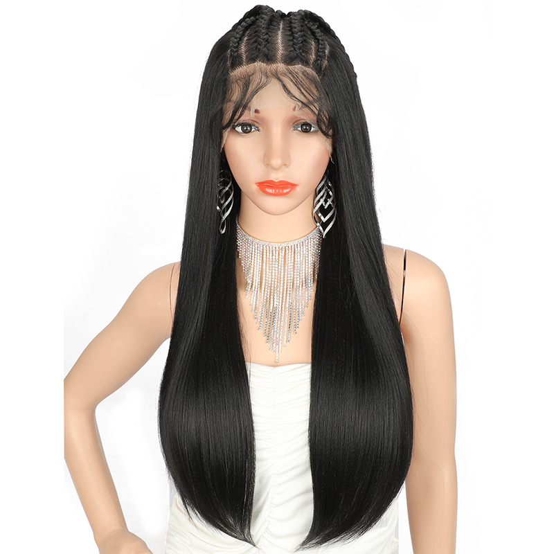 Kaylss 13x6 28 Inches Lace Front Braided Wigs Synthetic Wigs For Black Women Long Straight Cornrow Hand Braid Wig Heat Resistant