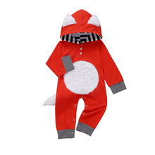 Kids Baby Girls Boys Cartoon Fox Hooded Romper Outfits