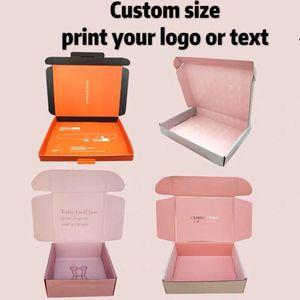 100 шт./лот, бумажная коробка на заказ, Подарочная коробка, гофрированная бумага, доставка, почтовые коробки, печатный логотип, упаковка, одежд...