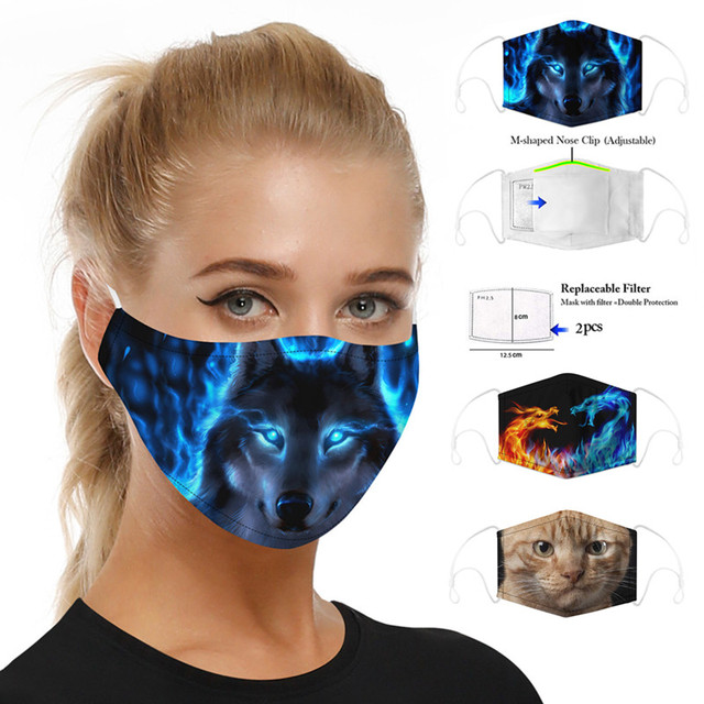 Animal Wolf Cat Dog Printing mouth Mask Reusable Protective PM2.5 Filter Paper Mask anti dust Face mask bacteria proof Flu Mask