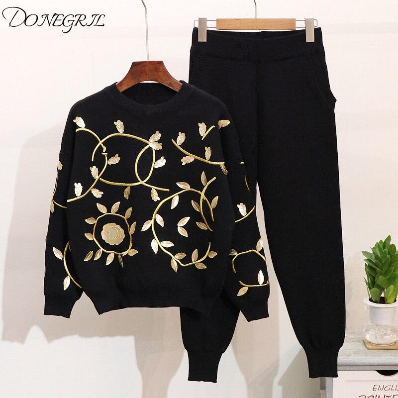 Automne hiver 2 pièces ensemble femmes or Floral embroïde top en tricot et Harem Pantalon décontracté ensemble Femme Chandal Mujer tenues